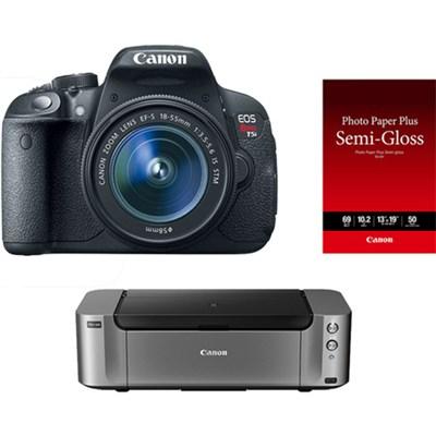EOS T5i 18MP DSLR Camera w/ 18-55mm IS STM Lens & Printer Bundle + $350 MIR