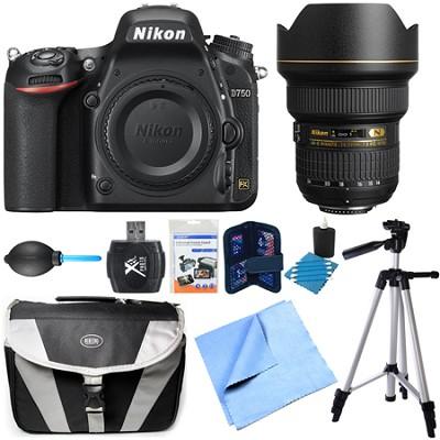 D750 DSLR 24.3MP HD 1080p FX-Format Camera Body 14-24mm NIKKOR Lens Bundle