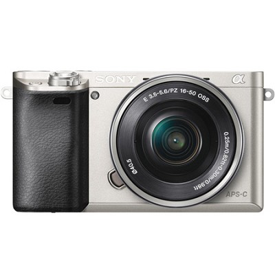 Alpha a6000 24.3MP Silver InterCH.Lens Camera w/ 16-50mm Power Zoom - OPEN BOX