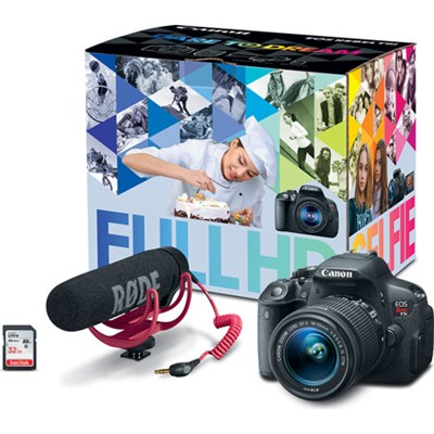 EOS Rebel T5i Video Creator Kit w/ Lens, Rode VideoMic, and Sandisk 32GB SD Card