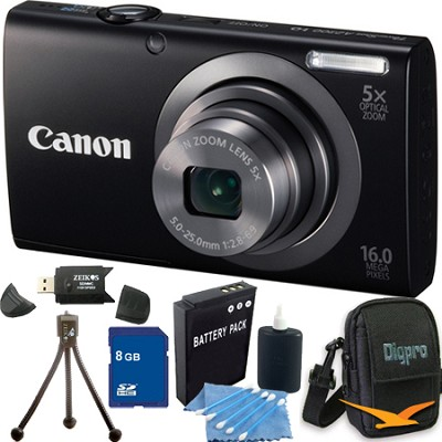 PowerShot A2300 16MP Black Digital Camera 8GB Kit