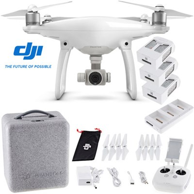 Phantom 4 Quadcopter with 2 Extra Batteries (Total: 3 batteries) + Charging Hub