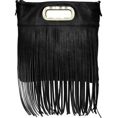 Juliet Vegan Leather Shoulder Bag with Long Fringe (Black)