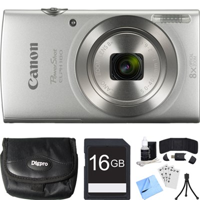 PowerShot ELPH 180 20MP 8x Optical Zoom Silver Digital Camera 16GB Card Bundle