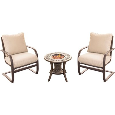 Summer Nights 3PC Seating Set: 2 Aluminum Spring Chrs with Cast Fire Urn
