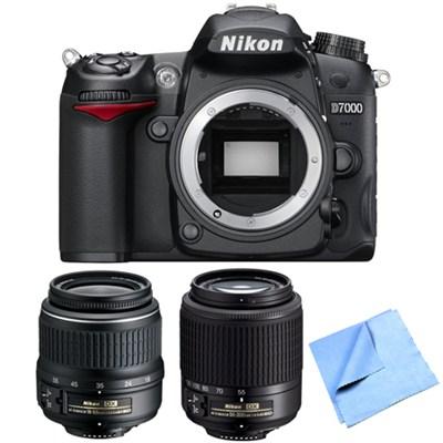 D7000 16.2 MP DX-format Digital SLR Camera 18-55mm + 55-200mm Lenses Refurbished