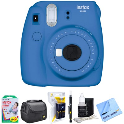 Instax Mini 9 Instant Camera Blue with AA Batteries & Charger Bundle