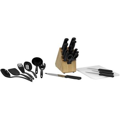 Basics 25-Piece Knife Block Set with Black Handles - 49125