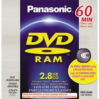 DVD-RAM Double-sided Disc f/ DVD Camcorders (60 Minutes/2.8 GB) w/ jewel case