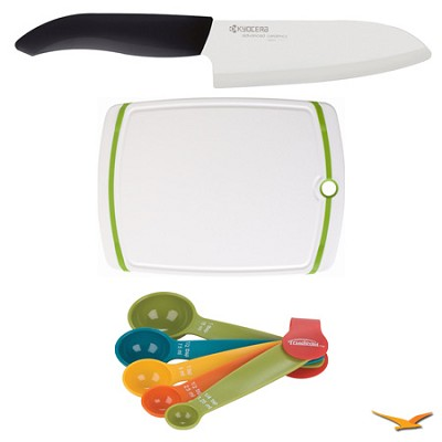Revolution Series 5-1/2` Santoku Knife, Cutting Board, and Spoon Set Bundle