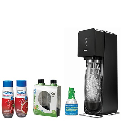 Source Home Soda Maker Starter Kit, Black with Soda Maker Bundle