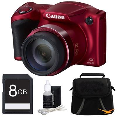 Powershot SX400 IS 16MP 30x Optical Zoom 720p HD Digital Camera Bundle - Red