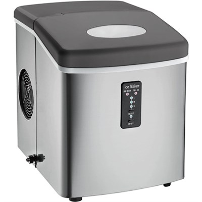 ICE103 Counter Top Ice Maker with Over-Sized Ice Bucket, Stainless Steel