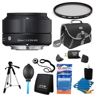 30mm F2.8 EX DN ART Black Lens for Micro Four Thirds Filter Bundle
