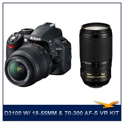 D3100 14MP DX-format Digital SLR Kit w/ 18-55mm Lens and Nikon 70-300 AF-S VR