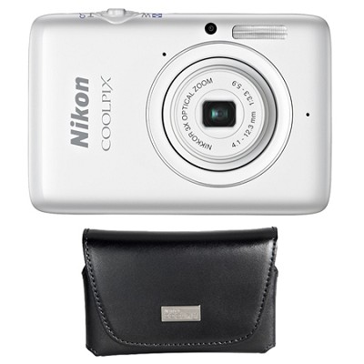 COOLPIX S02 13.2MP 3x Zoom White Digital Camera And Custom Nikon Leather Case