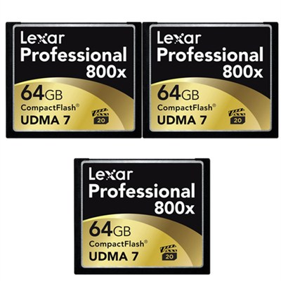 64GB Professional 800x Compact Flash Memory Card (LCF64GCTBNA800) 3-Pack Bundle