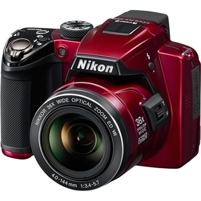 Coolpix P500 12MP Red Digital Camera w/ 36x Optical Zoom