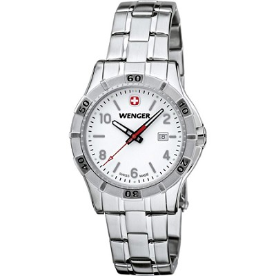 Ladies' Platoon Analog Watch - White Dial/Stainless Steel Bracelet