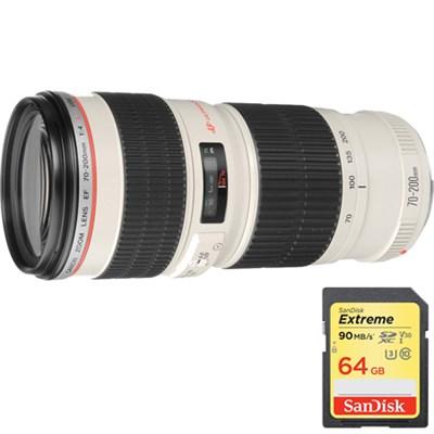 EF 70-200mm F/4.0 L USM Lens with Lexar 64GB Memory Card