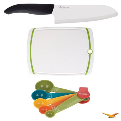 Revolution Series 6-1/4` Chef's Knife, Cutting Board, and Spoon Set Bundle