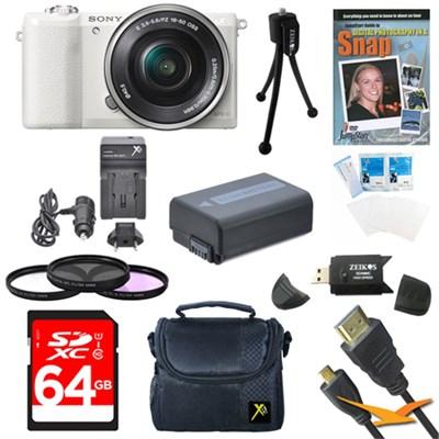 a5100 Mirrorless Camera w/ 16-50mm Zoom Lens White Bundle