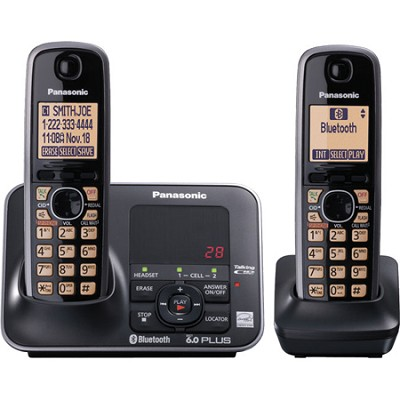 KX-TG7622B DECT 6.0 Link-to-cell Bluetooth Solution with 2 Handsets