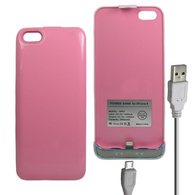 iPhone 5 Battery Case 2600mAh - Pink