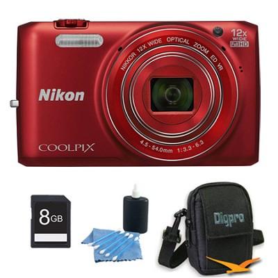 COOLPIX S6800 16MP 1080p HD Video Digital Camera Red 8GB Kit