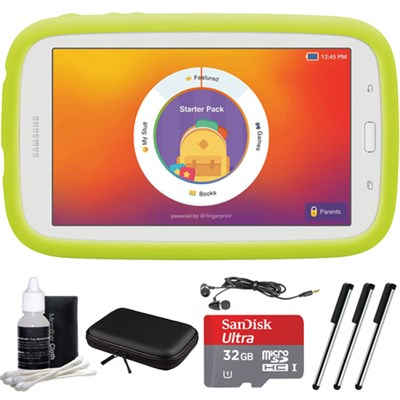 Kids Tab E Lite 7.0` 8GB (Wi-Fi) White with Bumper Case 32GB microSD Card Bundle