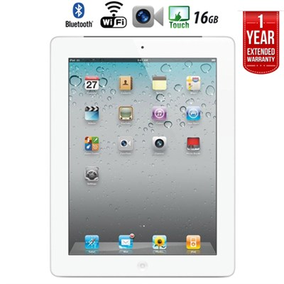 iPad 2 Tablet 2nd Gen (16GB, Wifi, White) + Extended Warranty  - Refurbished