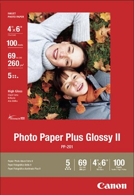 Photo Paper Plus Glossy II 4` X 6` - 100 Sheets