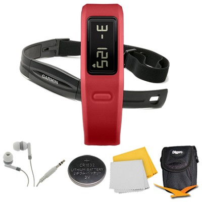 Vivofit Fitness Band with Heart Rate Monitor (Red) (010-01225-38) Deluxe Bundle