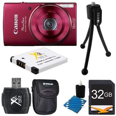 PowerShot ELPH 150 IS 20MP 10x Opt Zoom Digital Camera Red Kit