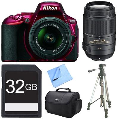 D5500 Red DSLR Camera 18-55mm Lens, 55-300 Lens, and 32GB Bundle