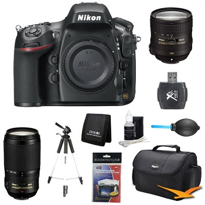 D800E 36.3 MP CMOS FX-Format Digital SLR Camera Body 24-85 and 70-300mm Lens Kit