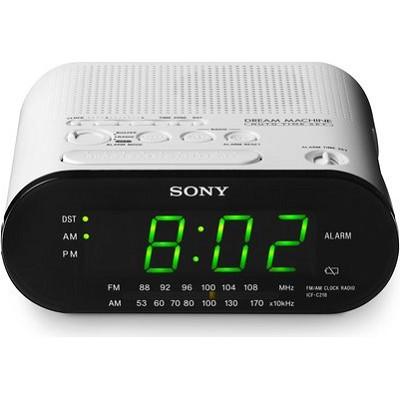 ICF-C218 White Automatic Time Set AM/FM Clock Radio - OPEN BOX
