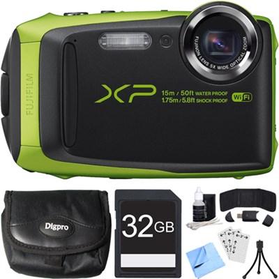 FinePix XP90 16 MP Waterproof Digital Camera Green 32GB SDHC Card Bundle
