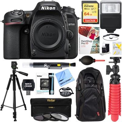 D7500 20.9MP Digital SLR Camera Body + 64GB Deluxe Accessory Bundle