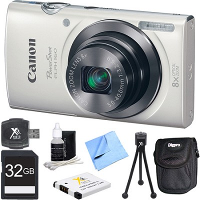 PowerShot ELPH 160 20MP 8x Opt Zoom HD Digital Camera - White 32GB Bundle