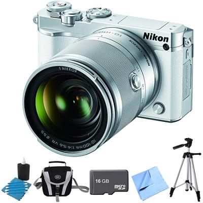 1 J5 Digital Camera w/ NIKKOR 10-100mm f/4.0-5.6 VR Lens White Bundle