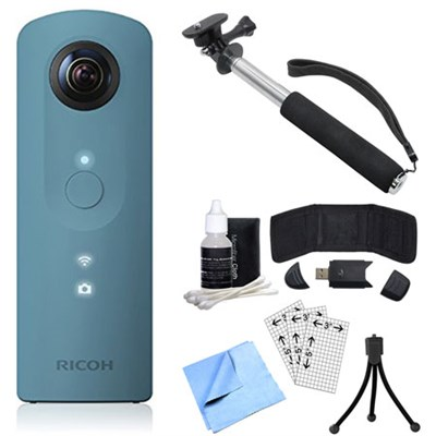 Theta SC 360 Degree Full HD Spherical Digital Camera Blue Bundle