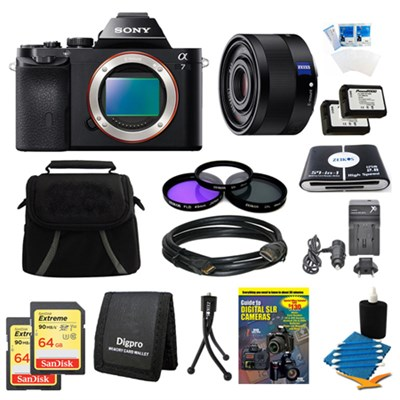 Alpha 7 a7 Digital Camera, 35mm Lens, 2 64 GB SDHC Cards, 2 Batteries Bundle
