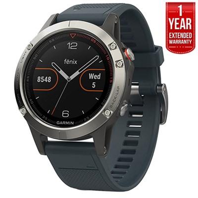 Fenix 5 Multisport 47mm GPS Watch Silver, Granite Band +1Year Extended Warranty