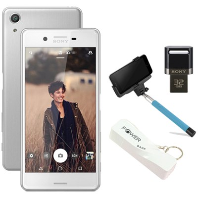 Xperia X Performance 32GB 5` Smartphone Unlocked Mobile Selfie Bundle - White