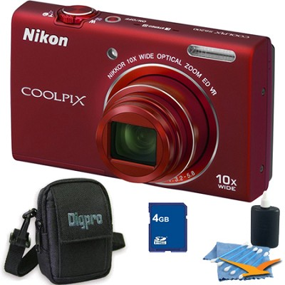 COOLPIX S6200 Red 10x Zoom 16MP Camera 4GB Bundle