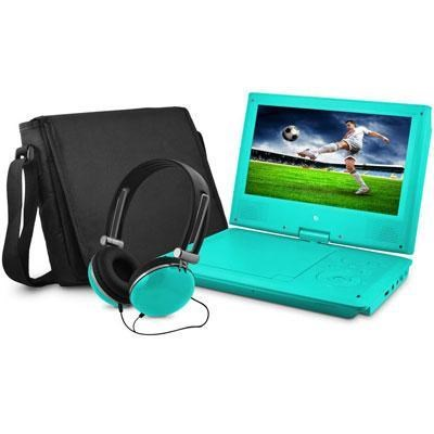 9` Swivel Portable DVD Player with Headphones and Bag in Teal - EPD909TL