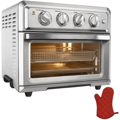 Convection Toaster Oven Air Fryer with Light, Silver w/ Oven Mitt