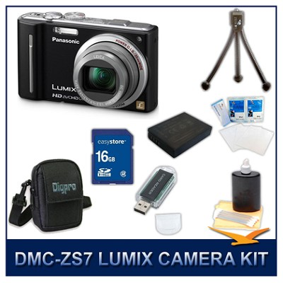 DMC-ZS7K LUMIX 12.1 MP Digital Camera (Black), 16GB SD Card, and Camera Case
