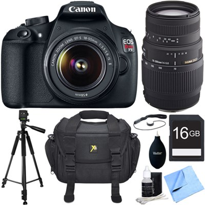 EOS Rebel T5 18MP DSLR Camera w/ 18-55mm + 70-300mm Telephoto Lens Bundle